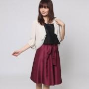 【SALE 58%OFF】ファイン FINE シャンタン生地レースボレロワンピースドレス (ブラック×ボルド×ベージュ)