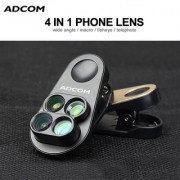 Adcom 4 in 1 Mobile Phone Camera Lens Kit with 110 Degree Wide Angle Lens All iPhone/Android Smartphones (Black)