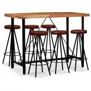 vidaXL Set mobilier bar 7 piese lemn masiv de acacia și piele naturală