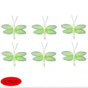 """Dragonfly Decor 2"""" Green Mini (X-Small) Glitter Nylon Dragonflies 6pc set. Decorate Baby Nursery Bedroom, Girls Room Ceiling Wall Decor, Wedding, Birthday Party, Bridal Baby Shower, Bathroom. Decorations for Crafts, Scrapbooks, Invitations, Parties"""