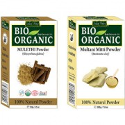 Indus valley Bio Organic Mulethi Powder Multani Mitti Combo-Set of 2