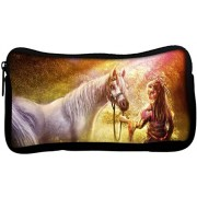 Snoogg Girl Horse Wood Art Poly Canvas Student Pen Pencil Case Coin Purse Utility Pouch Cosmetic Makeup Bag