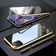 LUPHI Two-color Magnetic Installation Metal Frame + Tempered Glass Protective Shell for iPhone 11 Pro Max 6.5-inch - Gold