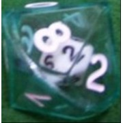 Chessex Koplow Games Set of 2 D10 26mm Double Dice, 2-in-1 Dice - White Inside Translucent Green Die #12594