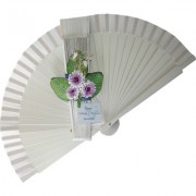 White Decorated Wedding Fan Purple Flowers
