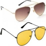 DEVEW Aviator Sunglasses(Golden, Brown)