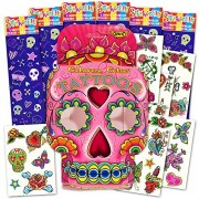 Sugar Skull Stickers and Tattoos Party Favors Pack Girls -- 192 Skulls Stickers and 35 Temporary Tattoos (Skull Party Supplies)