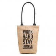 H&B Eco-friendly vintage waterproof jute shoulder bag(Work Hard,size 11x13x3 inch) (Black)