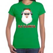 Bellatio Decorations Fout kerstshirt groen DJ Santa met koptelefoon voor dames