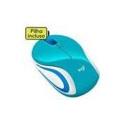 Mini mouse s/fio usb azul claro e branco M187 Logitech