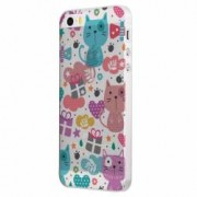 Husa Silicon Transparent Slim Lovely Cat Apple iPhone 5 5S SE