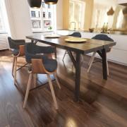 Трапезен стол с извита дървена рамка и тапицерия от плат, 4 бр.