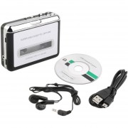 ER Cassette De Cinta USB Para MP3 Machine Negro + Plata-Black.