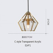 TongLingUSL Luz de Techo Nordic Hierro Forjado Polígono Luces Pendientes de Cocina colgados de la lámpara E14 decoración del hogar Iluminación (Body Color : C3, Size : Gratis)