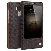 Huawei Mate 9 Qialino Smart View Flip Cover - Grid Texture - Bruin