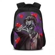 Cameon Mochila de viaje, ligera, esqueleto romántico, novio de cadáver con esmoquin de corazones en el fondo impreso, escuela, viaje o bolsa de negocios 15.7x10.6x6.69 pulgadas negro y rojo