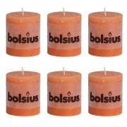 Bolsius Rustic Pillar Candle 80 x 68 mm Orange 6 pcs