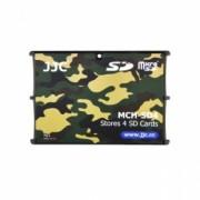 JJC - Cutie pentru carduri de memorie SD, 4 compartimente, camuflaj