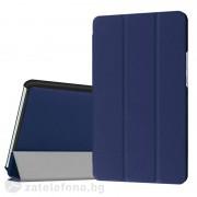Кожен калъф със сгъващ се капак за Huawei MediaPad M3, 8.4 инча - тъмно син