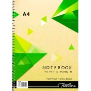 TREELINE A4 100 PAGE WIRO NOTEBOOK HARD COVER