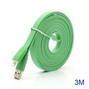 Platte USB kabel lightning 3 meter groen
