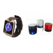 Zemini DZ09 Smartwatch and S10 Bluetooth Speaker for LG OPTIMUS L3(DZ09 Smart Watch With 4G Sim Card Memory Card| S10 Bluetooth Speaker)