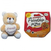 Teddy bear soft toy & card friends pizza forsister