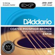 D'Addario Cuerdas para guitarra acústica 10-47 12 cuerdas EXP38 Coated Fósforo bronce