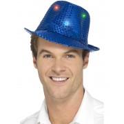 Deguisetoi Chapeau borsalino bleu à sequins avec LED adulte