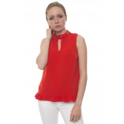 Guess Top Rosso Poliestere Donna