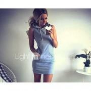 Dames Casual/Dagelijks T Shirt Jurk Effen-Capuchon Mini Mouwloos Katoen Lente Zomer Medium taille Micro-elastisch Dun