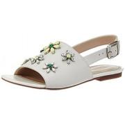 Clarks Women's Polenta Sugar White Leather Fashion Sandals - 5 UK/India (38 EU)