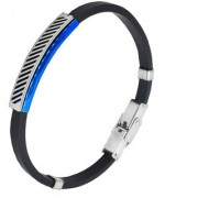 Sullery Vintage Biker Best Friend Wristb With Stainless Steel Foldover Clasp Black & Blue Silicon Bracelet