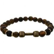 BeBold Bronze Dumbbell Black Crystal Fashion Bead Matt New Bracelet for Men Boys