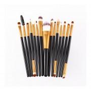 15pcs/Kit De Maquillaje Maquillaje Cosmético Pinceles Pincel Herramienta Belleza Cabello Sintético Black&Gold
