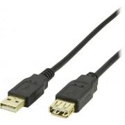 Deltaco USB A förlängningskabel 1m svart typ A hane - typ A hona