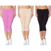 Jakqo Women's Cotton Bio-Wash Capri (Free Size Pack Of 3 Baby Pink Tan Black)