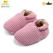 Pantofi bumbac rosu-gri 6-12 luni