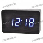despertador estilo madera w / LED azul + temperatura - negro + gris (4 x AAA / USB)