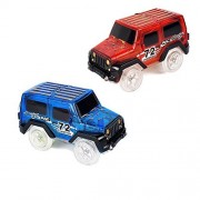 Car Tracks,Light Up Replacement Toy Car (2-Pack) Glow in the Dark Racing Track Compatible with Most Tracks,Boys and Girls(Red and Blue)
