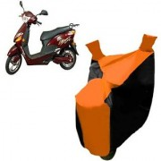 Intenzo Premium Orange and Black Two Wheeler Cover for Hero Electric Optima Plus