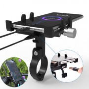 GUB G-91 Phone Mount Motorcycle Handlebar Metal Phone Holder Stand Mount Holder USB Charging - Black