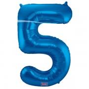 5. szám, fólia lufi, 86 cm, kék