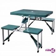 vidaXL Sklopivi set za kampiranje, 4 aluminijske stolice, zeleni