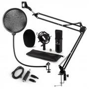 Auna CM001B set de micrófono V4 micrófono condensador adaptador USB brazo de micrófono protección anti pop negro (60002025-V4KO)
