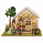Awhao DIY Houses Handmade Piece Together Toy Doll Wooden House with Music Movement for Birthday Gift and Room Decoration (A)