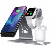 BESTAND 3-in-1 iWatch Stand Airpods Charger Dock 10W Phone Qi Wireless Charger Desktop Holder - Grey