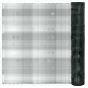 vidaXL Квадратна поцинкована мрежа 1 х 25 м с PVC покр. и отвори 16 х 16 мм