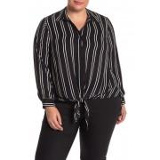 DR2 by Daniel Rainn Printed Tie Front Tunic Blouse Plus Size F702 BLACK