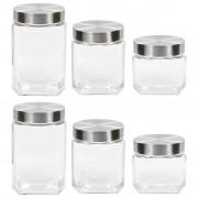 vidaXL Frascos de vidro com tampa prateada 6 pcs 800/1200/1700 ml